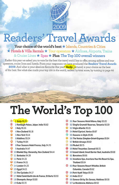 Top 100 CN Traveller. thinkSicily